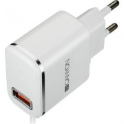 CANYON Universal 1xUSB AC charger (in wall) with over-voltage protection, plus lightning USB connector, Input 100V-240V, Output