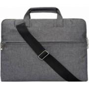 Geanta Krasscom laptop macbook 13 inch compartimentata cu maner si curea gri
