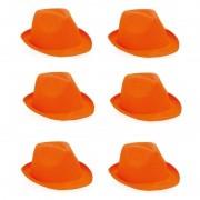 Geen 6x Oranje trilby hoeden