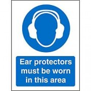 Unbranded Mandatory Sign Ear Protection Plastic 30 x 20 cm