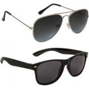 Marabous Aviator, Wayfarer Sunglasses(Black, Grey, Black)