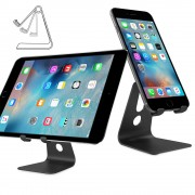 Rotary Metal Desktop Stand Holder for iPhone 6s/iPad Pro 9.7/Samsung S7 Etc - Black