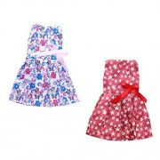 Dovewill 2Pcs Colorful Sleeveless Dress Floral and Five-pointed Star Printed Frock Skirt Costume for 14inch American Girl Dolls Clothes Girls Pretend Play Toys
