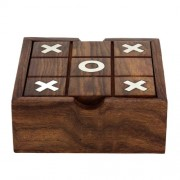 SKAVIJ Indian Handmade Wooden 2 in 1 Square Box Tic Tac Toe Solitair- 5 Inch Noughts and Crosses Educational Board Game Gift for Kids & Adults