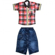 Kids dresses baby clothing boys Cotton Shirt Jeans Shorts Combo baba suit
