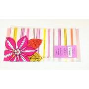 "Carolina Pad Studio C Zip It Plastic Reusable Envelope ~ 10.25"" X 5.25"" (Pinks And Purples, Deep Pink Flower)"
