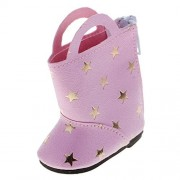 Dovewill New Pair of Adorable Star Printed Zippered PU Leather Boots for 14'' American Girl Wellie Wisher Doll Dress Up Pink