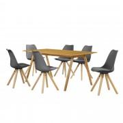 [en.casa] Set de comedor mesa bambú 180x80 + 6 sillas grises tapizadas piel sintética