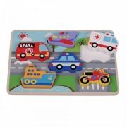Puzzle Chunky Traffic Jumini, lemn, 6 piese, 30 x 21 x 2 cm, 1 an+, Multicolor