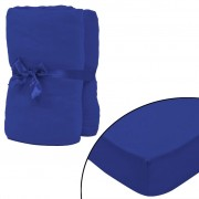 vidaXL Чаршафи с ластик, 2 бр, памук, 160г/мм, 140x200-160x200см, сини