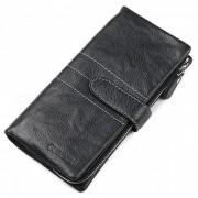 GUBINTU Cuero de cuero estilo horizontal 2-Fold Wallet monedero - Negro