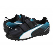 Ghete fotbal copii Puma Esquarda TT V Jr. black-white-scuba blue