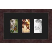 ArtToFrames Art to Frames Double-Multimat-22-89/89-FRBW26061 Collage Frame Photo Mat Double Mat with 3 3x5 Openings and Espresso frame
