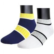 Neska Moda Premium Men and Women 2 Pairs Cotton Ankle Length Socks Blue White