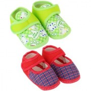 Neska Moda Pack Of 2 Baby Boys Girls Red and Green Cotton Velcro Anti Slip Booties For 0 To 12 Months