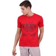 Bamboo Breeze Mahadev eyes Red Solid half sleev printed t-shirt for men