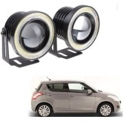 Auto Addict 3.5 High Power Led Projector Fog Light Cob with White Angel Eye Ring 15W Set of 2 For Maruti Suzuki Swift Type-2(2011_2017)