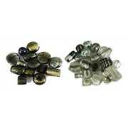 Asianhobbycrafts Loose glass beads for jewelery making and home decoration 300 gm mixing set of two color grey and white