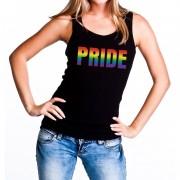 Bellatio Decorations Pride regenboog gaypride tanktop/mouwloos shirt zwart dames