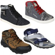 Super Men Canvas Combo Pack of 4 (Casual Sneakers Shoes With Sports Shoe Sandal)