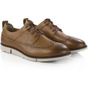 Clarks Trigen Limit Cognac Leather Corporate Casuals For Men(Brown)