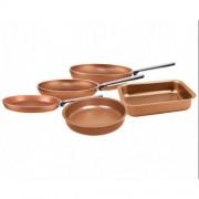 Комплект съдове за готвене Pensofal CUPRUM, 5 части, Многослойна структура с минерали, Меден цвят