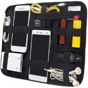 PackNBuy Grid Pad with Black Color Zipped Pouch Electronics Cosmetics Tool Organizer Bag(Black)