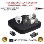 Dahua 1 MP HDCVI 4CH DVR + Dahua HDCVI Bullet Camera 3Pcs and Dome Camera 1Pcs Combo