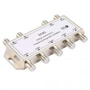 Hen-Hen DS81 8 en 1 Señal satelital Interruptor DiSEqC LNB Receptor Multiconmutador Servicio Pesado Zinc Fundido a presión Tratado con Cromo