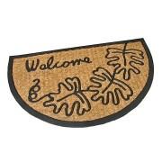 Kokosová čistící venkovní vstupní půlkruhová rohož Oak Leaves, FLOMAT - délka 45 cm, šířka 75 cm a výška 0,8 cm