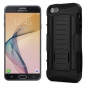 Funda Samsung G610 Galaxy J7 Prime Robot Uso Rudo Con Clip - Negro