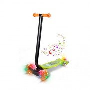 Kids 3 wheels Kick Scooter with LED Flashing Wheel and Music Push Scooter for Girls Boys Handlebar 11.4 inch (G)