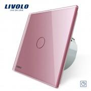 Intrerupator simplu cu timer si touch Livolo din sticla, roz