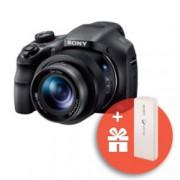 """Фотоапарат Sony Cyber Shot DSC-HX350 (черен) с подарък външна батерия Sony CP-V3(бяла), 50x оптично увеличение, 20,4 Mpix, 3.0"""" (7.62cm) LCD дисплей, micro HDMI, micro USB, SDXC слот"""