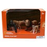 Set 4 figurine Gorila, Maimuta, Leu si Leoaica National Geographic, 3 ani+