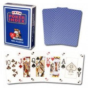 Modiano Italian Poker Game Playing Cards - Blue Poker Index - Single Card Deck - 100% Plastic Made i