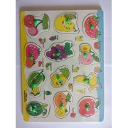 Abaj 12 Vegetables Matching Puzzle Picture Board With Peg Knobs - Learning Educational Toys for kids 18M+(Multi-Colour)