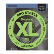 D'Addario Juego de 4 cuerdas para Bajo XL Pro Steels 43-107 43-60-85-107, EPS300