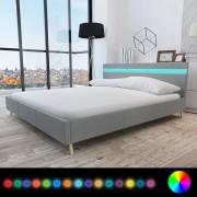 vidaXL Pat tapițerie textilă, tăblie cu iluminare LED, 200x160cm, gri deschis