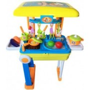 Bucatarie de jucarie pentru copii Pliabila tip Troller Little Chef cu lumini si sunete