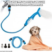 Douchette brosse avec réservoir pour animaux