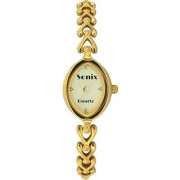 Sonix Oval Dial Gold Metal Strap Analog Watch for Women