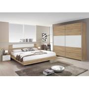 Lifestyle4Living 4-tlg. Schlafzimmer in Sonoma Eiche-Nachbildung mit Abs. in alpinweiß, Schwebetürenschrank B: 218 cm, Bett Liegefläche 180 x 200 cm