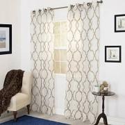 Lavish Home 63-200-84-T Elisa Emboidered Curtain Panel, 84 Inch, Taupe