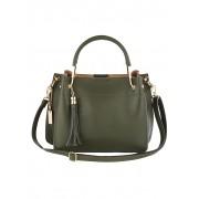 MONA Handtasche, Damen, oliv, mit abnehmbarem Schmuckanhänger und Quaste