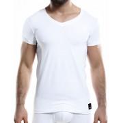Cut For Men C4M Solid V Neck Short Sleeved T Shirt White C4M07
