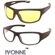 Ivonne Night Vision Unisex Driving Sunglasses Combo (Nightvisioncombo55YellowWhite)