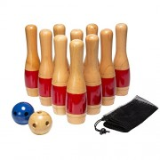 "Hey 21 Play 21 Hey! Play! 11"" Wooden Lawn Bowling Set Game"
