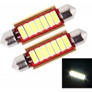 2 Pcs DC 12V 3W 41mm Ericsson Bicúspide Decodificación Lampara LED Auto Domo Puerto Luz De Lectura Con 6 Luces LED (luz Blanca)