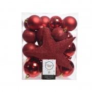 Decoris 33x Rode kerstballen met ster piek 5-6-8 cm kunststof mix - Kerstbal